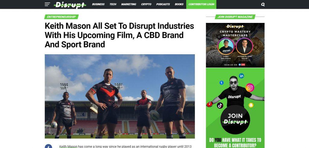Keith Mason Disrupt magazine